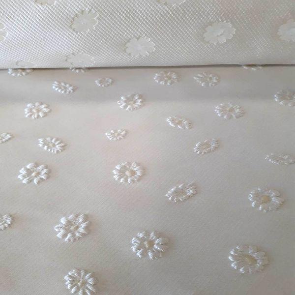 Jaquarc flor 3d  blanco roto, A0307