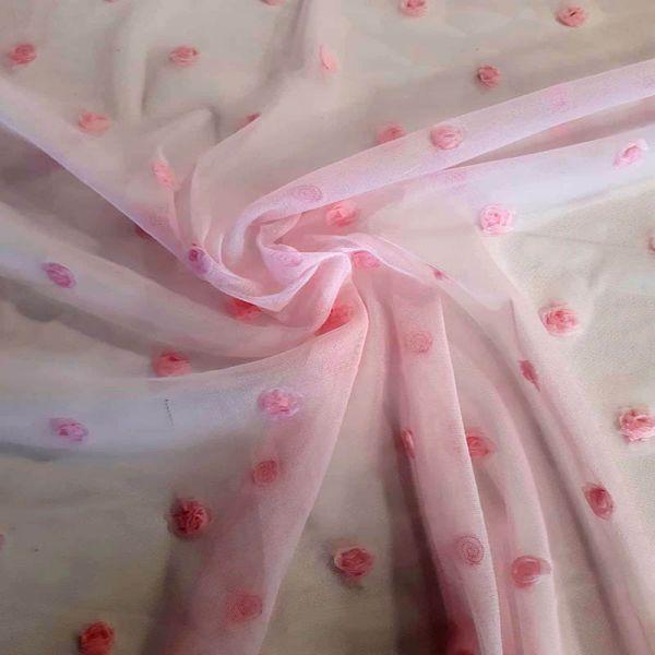 Tul sedoso bordado rosa
